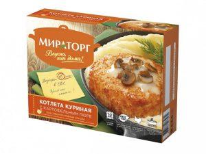 Котлета куриная с картофельным пюре под сливочно-грибным соусом Мираторг